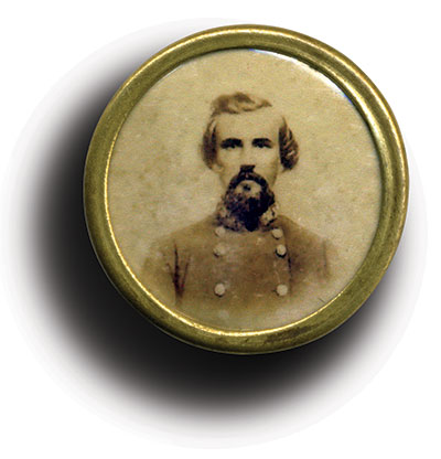 This clothing button contains an albumen photo with Forrest pictured as a general. Matt Hagans Collection.