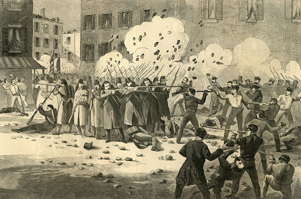 ALL HELL BREAKING LOOSE: This engraving of the firefight along Pratt Street appeared in the May 4, 1861, edition of Harper's Weekly. In any other week, the Baltimore Riot might have been front page news. The cover story, however, was the bombardment of Fort Sumter, which has occurred a week earlier. Other top stories in the issue reported the rapid mobilization to put down the rebellion. Ronald S. Coddington Collection.