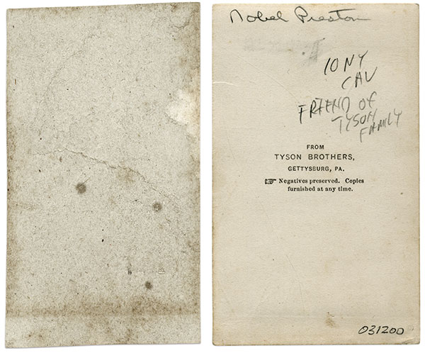The rough texture of one of the backs of the mounts of cartes in the Stetz album, left, compared to the smooth back of the Preston mount.