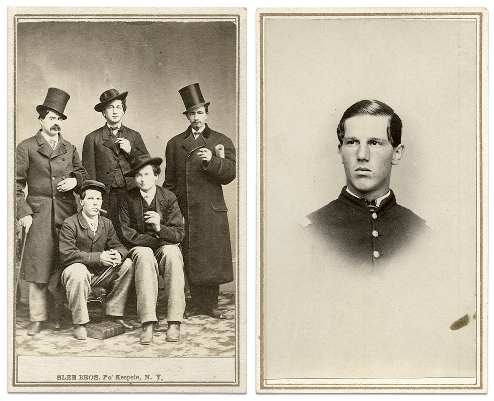 """Kemp, above right, is pictured as a first lieutenant in a carte de visite by an anonymous photographer. A note in his hand on the back of the image states, """"It is salt that preserves sweetness."""" Kemp is pictured again, this time in civilian clothes with his pals Fred, Frank, Wes and Charlie, in a carte de visite by Slee Bros. of Poughkeepsie, N.Y. The image is dated on the back Nov. 10, 1865—about four months after Kemp mustered out of the army. Also on the back, in his hand, is """"Eastman's Bummers on a Burn."""" No men with the surname Eastman served in the 5th. Rick Carlile Collection."""