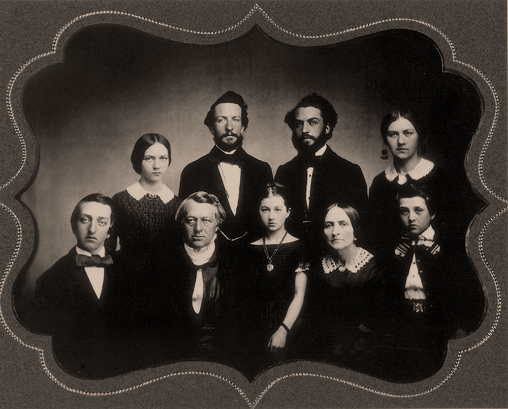 In a prewar image of the Hopson family, Edward, who joined the Union army, sits at left. His brother William, who joined the Rebel army, is the tallest man in the second row. Courtesy Charlet Roskovics.