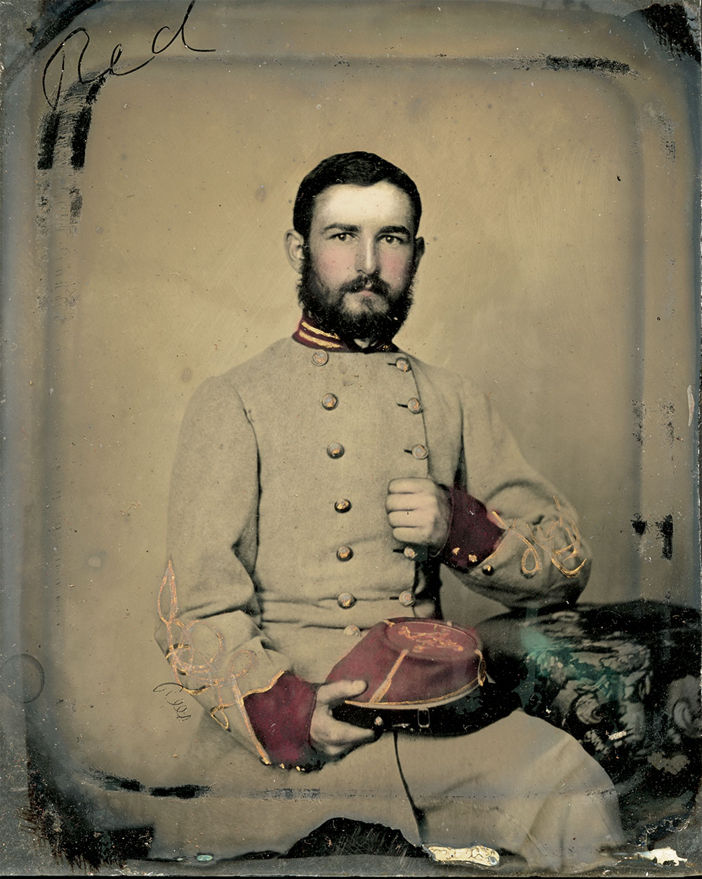 William Rice Jones pictured as a first lieutenant in the 4th Virginia Heavy Artillery, about 1862. Sixth-plate ambrotype by Charles R. Rees of Richmond, Va. Courtesy of the Jones-Horsman Family.