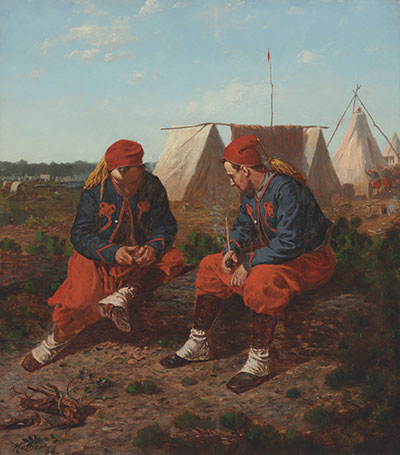 Artist Winslow Homer was fascinated by the camaraderie of Zouaves. The Cleveland Museum of Art, Mr. and Mrs. William H. Marlatt Fund.