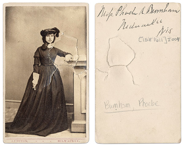 Phoebe Burnham. Carte de visite by Lydston of Milwaukee, Wis.