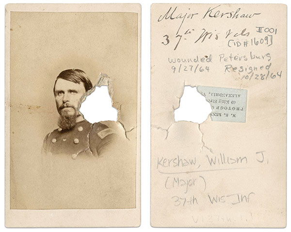 This portrait of William Kershaw was the first photograph to be struck by the bullet. Ironically, Kershaw was wounded the same day this image was damaged. (The date listed in modern pencil on the back of the image, 9/27/64, refers to a promotion, not the wound.) Carte de visite by by N. S. Bennett of Alexandria, Va.