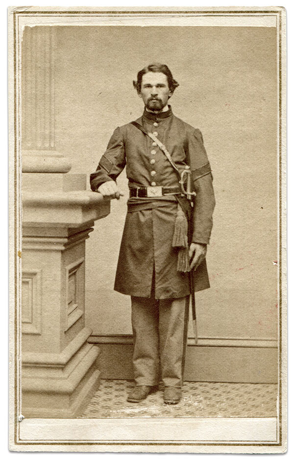 Portraits of hospital stewards with swords are rare. In this image, the sword is the correct non-commissioned officer's pattern rather than the medical staff model carried by surgeons. The chevrons and caduceus are plainly visible on the sleeves of his frock coat. Carte de visite by Thompson of Norwich, Conn. Steven Karnes Collection.