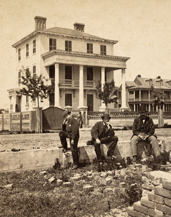 During the summer of 1864, Michener was one of 50 prisoners of war confined by their Confederate captors in the O'Connor House in downtown Charleston, S.C. The Union men were subjected to artillery shells from their own guns—in effect, human shields. Detail of stereoview by an anonymous photographer. Library of Congress.