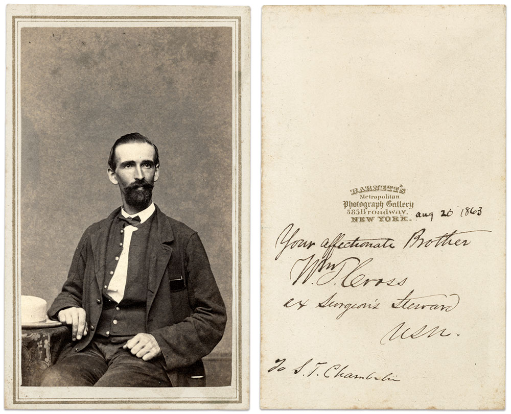 """NEATLY HANDWRITTEN IN PERIOD INK, on the back of the mount of this carte de visite is """"Aug 20 1863 Your Affectionate Brother Wm T. Cross ex Surgeon's Steward/USN. To S.T. Chamberlin."""" The identity of Chamberlin is not known. Carte de visite by George W. Barnett of New York City. Author's collection."""