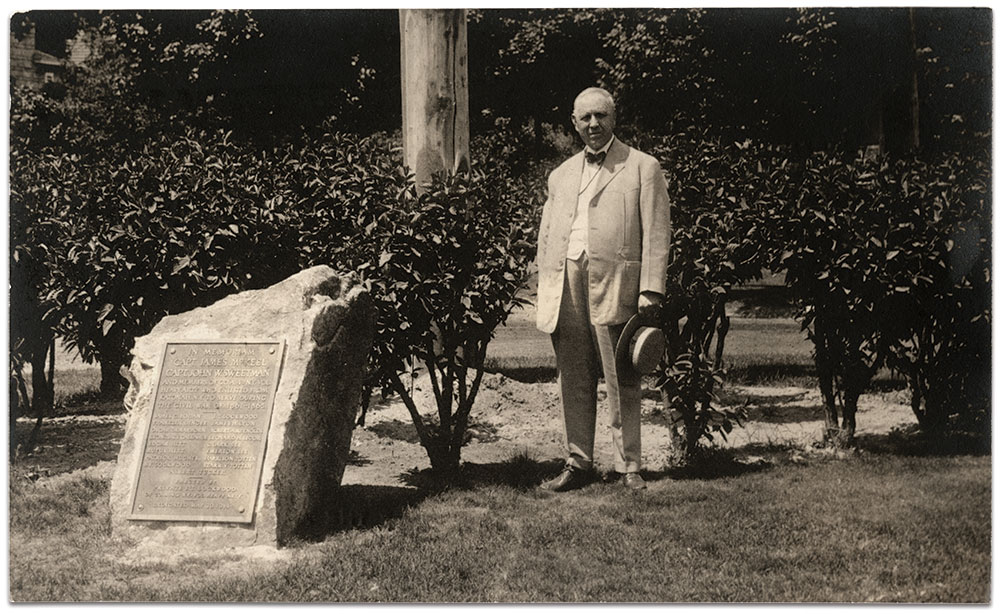 On May 30, 1914, Lockwood dedicated this monument to captains James M. McKeel and John W. Sweetman, and other comrades from Katonah, N.Y., who enlisted in Company A. The local G.A.R. post was named for McKeel, who was killed in action at the Battle of Reams' Station on Aug. 25, 1864. Lockwood posed for this photograph about 1923. Real photo postcard by an anonymous photographer.