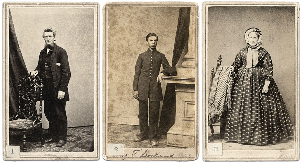 Lockwood, center, pictured in June 1863, carried these portraits of his parents, Jeremiah Sr. and Jane, throughout his service with the 4th New York Heavy Artillery. The numbers were attached by Lockwood after the war as part of an effort to catalog his military experience. Carte de visite by (left to right) E.B. Balch of New York City, Jesse H. Whitehurst, Washington, D.C. and M.G. Ash and Company of Chatham, N.Y.