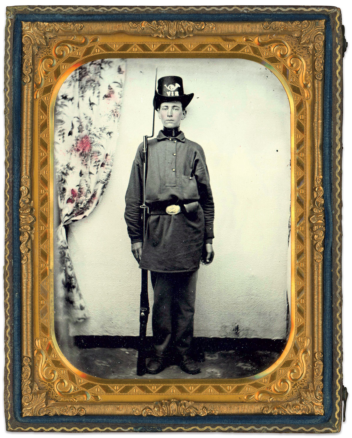 David A. Sheldon is pictured as a private in Company B of the 4th Rhode Island Infantry. He served in this regiment from 1861 to 1864, when he transferred to the 7th Rhode Island Infantry. Quarter-plate ruby ambrotype by an anonymous photographer. Dan Binder Collection.