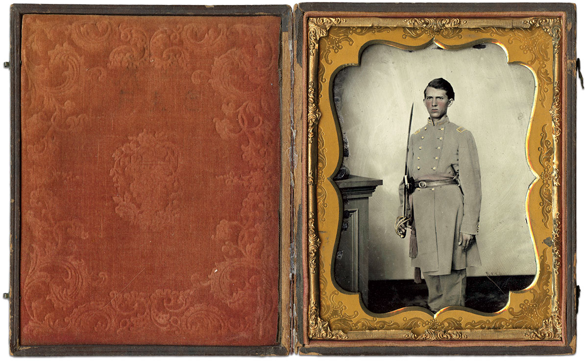 """A note in pencil on the inside case states, """"Likeness of B.A. Campbell taken in Richmond, Virginia 1861 and presented to his wife Eppie Campbell."""" Half-plate ambrotype by Charles R. Rees of Richmond, Va. Adam Fleischer Collection."""