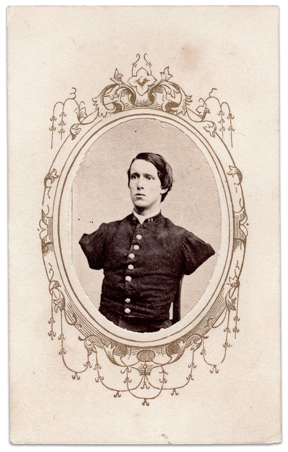 AID FOR AN AMPUTEE: Evans helped Sgt. Alfred A. Stratton of the 147th New York Infantry, who suffered a war wound that resulted in the loss of both arms, by holding two fundraisers on his behalf. Author's collection.
