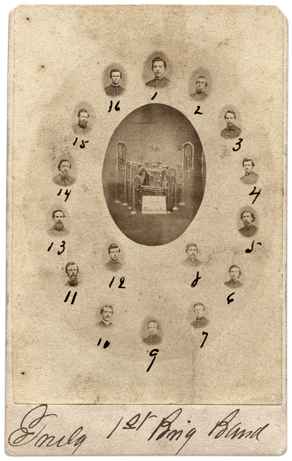 THE IRON BRIGADE BAND: The majority of musicians hailed from the 2nd Wisconsin Infantry. They are (1) Band leader Frederick Pischel, (2) James Wooler, (3) Nathaniel Jacobs, (4) Gundrum, (5) Joseph H. Sale, (6) Alfred E. Haven, (7) Anson Linscott, (8) Joseph Temby, (9) James Wilkinson, (10) James H. Neaville, (11) Alva R. Bridgman, (12) Edwin Andrews, (13) Isaac Riggs, (14) Jacob W. Gilbert, (15) George W. Peck and (16) Oscar H. Comfort. Carte de visite by Tyson Brothers of Gettysburg, Pa. Marc and Beth Storch Collection.