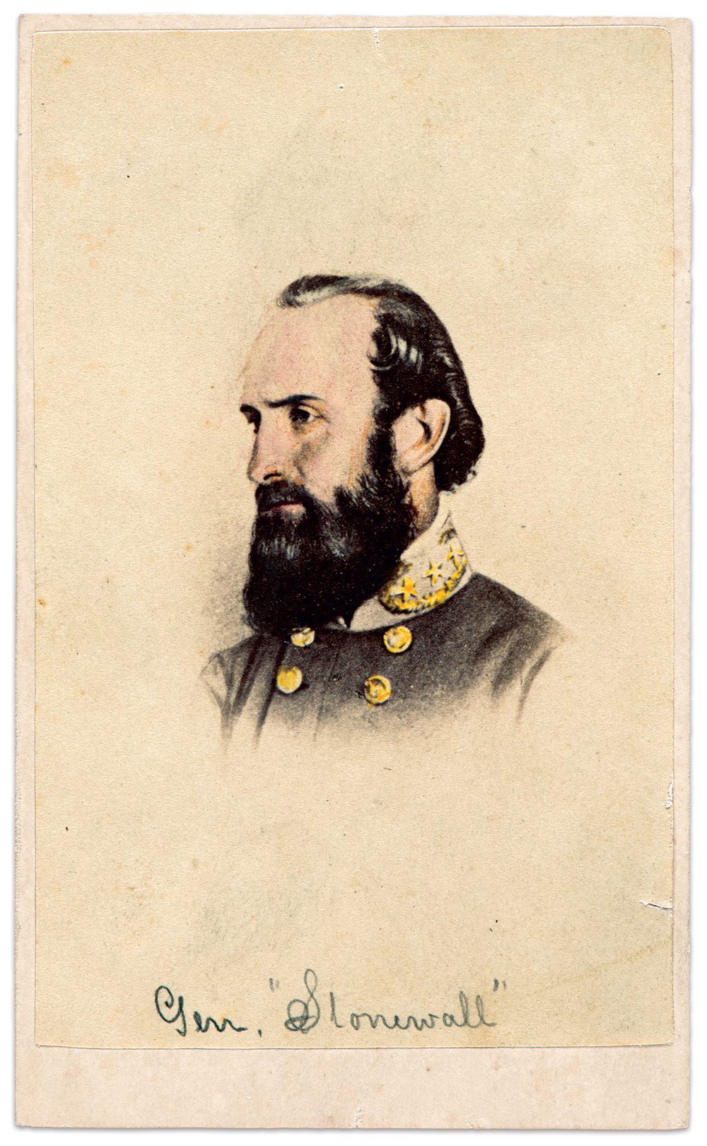 """Tinted portrait of Gen. Thomas J. """"Stonewall"""" Jackson. Gault made this print from the well-known portrait taken in Virginia on April 26, 1863, a week before Jackson suffered a wound at the Battle of Chancellorsville that ultimately cost him his life. Courtesy of the Confederate Memorial Literary Society (CMLS) Image Collection, Virginia Museum of History & Culture."""