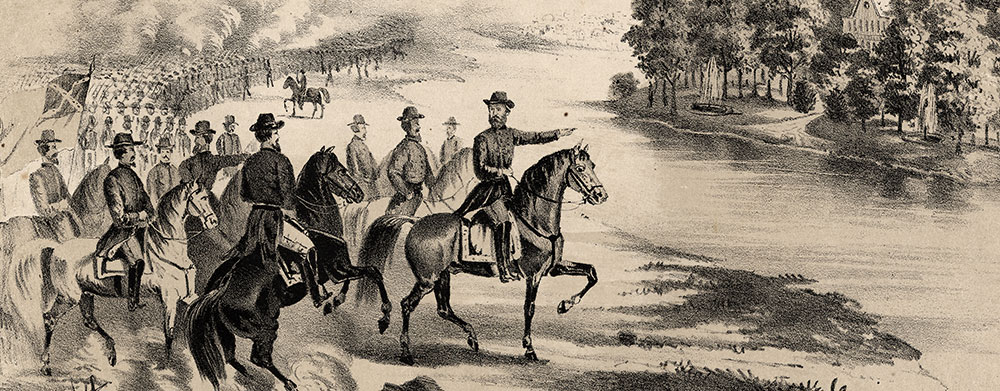"""Deafness was common among commanders in both armies. Some generals were either partially or severely deaf before the onset of the war, including Southern generals Maxcy Gregg (whose death at Fredericksburg was attributed to his deafness), Thomas Jonathan """"Stonewall"""" Jackson, and Theophilus Hunter Holmes; and Northern commanders such as John G. Barnard, who commanded the defenses of Washington,and Henry Jackson Hunt, the """"Great Gunner General."""" The degree of deafness and age of onset of their hearing loss varied. Etiologies of these commanders and those deafened in the war included age, disease, exposure, overuse of quinine and concussions from artillery. Illustration from the cover of the 1866 songsheet """"Stonewall Jackson's Last Words."""" Library of Congress."""