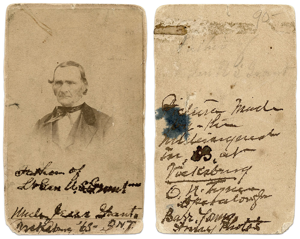 """Key inscription: On the front, """"Father of Lt. Gen. U.S. Grant, Uncle Jesse Grant, Vicksburg 63 O.N.T.,"""" and, on the reverse, """"Picture made by the undersigned in 63 at Vicksburg, O.N. Tyner, Operator for Barr & Young Army Photos."""" Carte de visite by Barr & Young of Vicksburg, Miss."""
