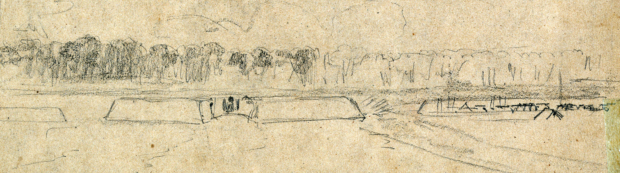 William Waud produced this sketch of Casey's Redoubt within 48 hours after the battle.                                                                                                                                                                                                                       Library of Congress.