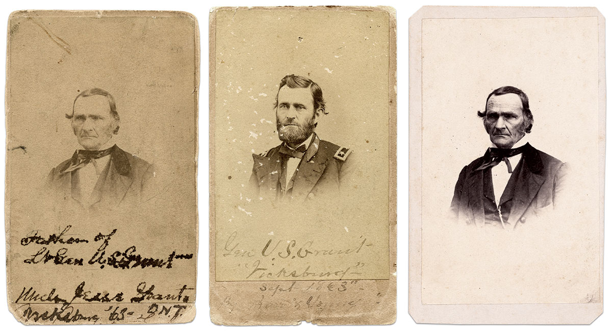"""Prints made from sittings months apart: The author purchased this pair of cartes de visite together. The consistency of the wear and tear suggests they have been together for many, many years. Both prints were made in September 1863—the carte of Gen. Grant from a negative made about this time in Vicksburg and that of his father from a negative from a sitting likely in Memphis the previous year. Another print of """"Uncle Jesse"""" is an undated carte with the Barr & Young backmark is part of the collection of the National Portrait Gallery in Washington, D.C."""