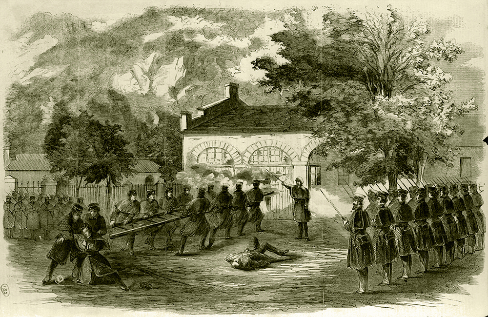 John Brown's raid on Harper's Ferry, Va., as depicted in the Oct. 29, 1859 issue of Frank Leslie's Illustrated Newspaper. Library of Congress.