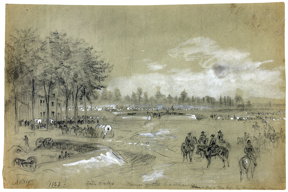 Alfred R. Waud's sketch of Seven Pines, or Fair Oaks, a day or two before the fight. Library of Congress.