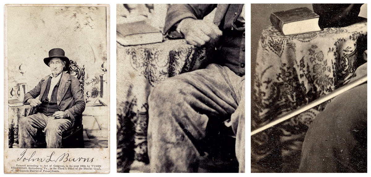 The tableclothwith the distinctive bird pattern visible in the John Burns portrait by the Tyson Brothers (John J. Richter Collection), left and center, is also present in the likeness of Commissary Sgt. Woodruff, right.