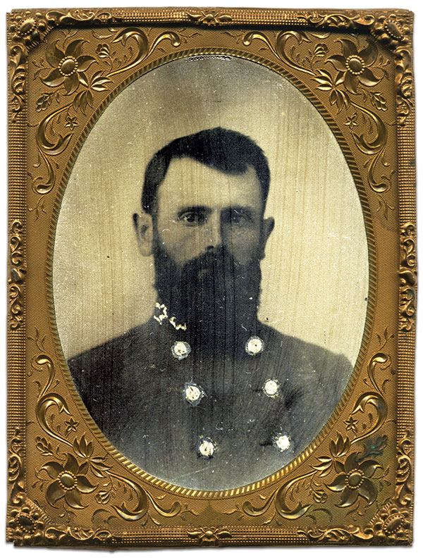 Sam Johnston. Quarter-plate tintype by an anonymous photographer. Dave Batalo Collection.
