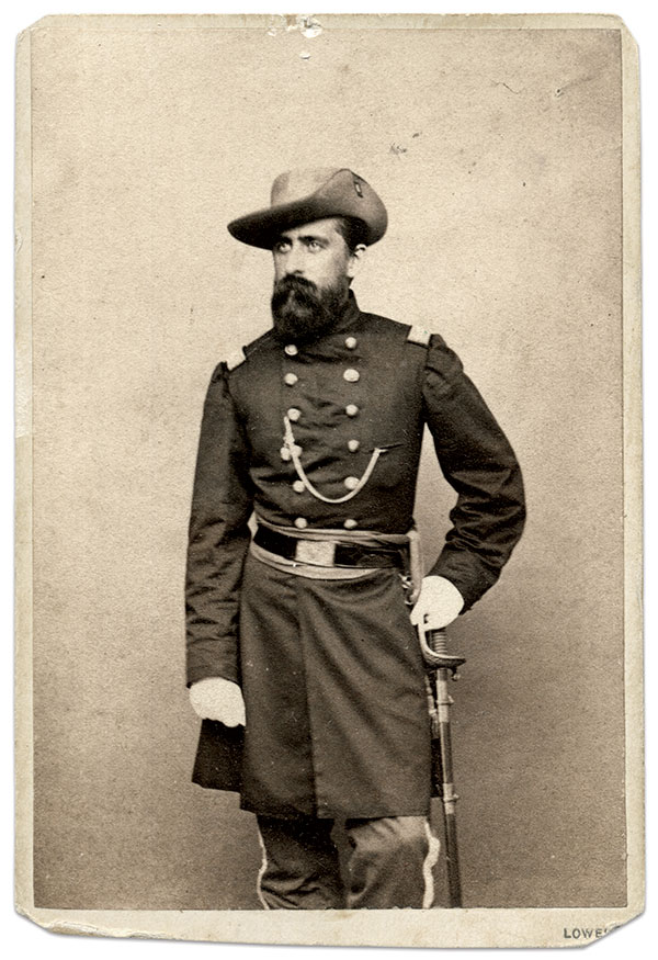 JOURNEY THROUGH BALTIMORE: Col. Edward Franc Jones, commander of the 6th, knew that he and his regiment would face hostile crowds and acted to minimize potential danger. But his plans were doomed to failure. Carte de visite by Warren of Lowell, Mass. Ronald S. Coddington Collection.