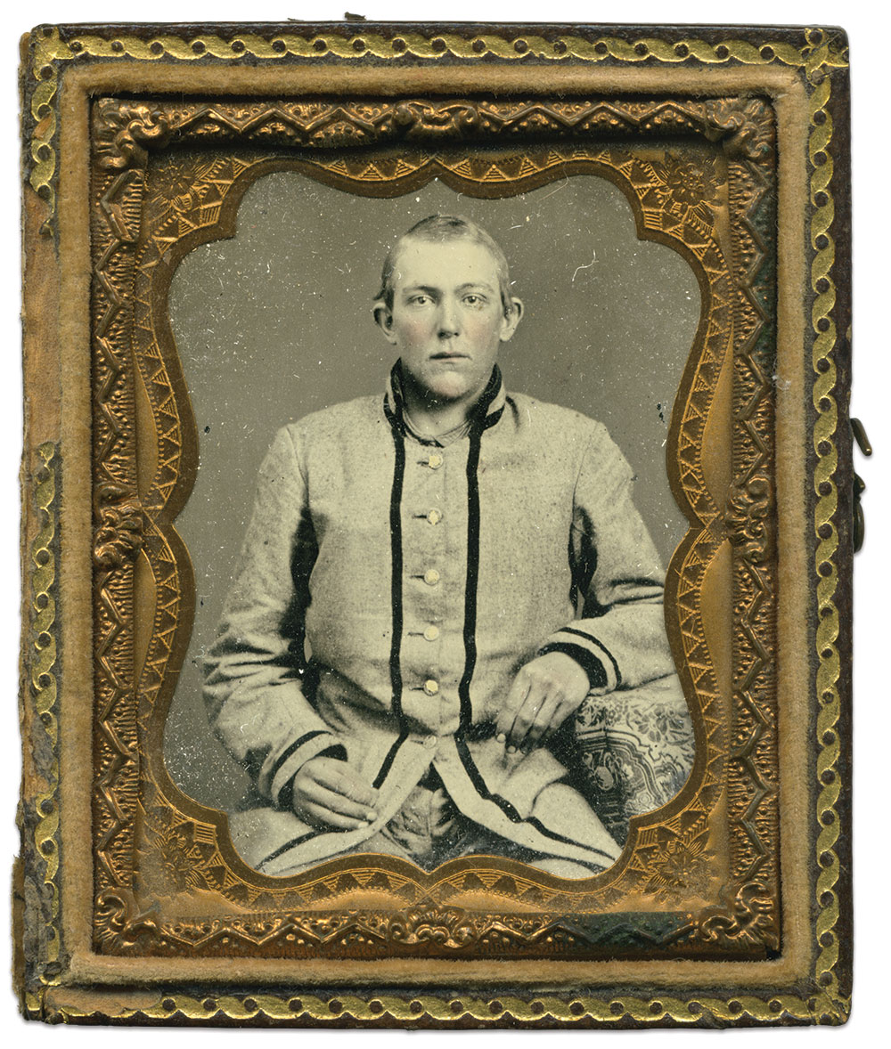 Joseph Elijah Quattlebaum, pictured soon after he enlisted in the DeKalb Guards, which became Company G of the 13th South Carolina Infantry. Ninth-plate tintype attributed to the Columbia, S.C. gallery of Richard Wearn and William P. Hix. Terry Burnett Collection.