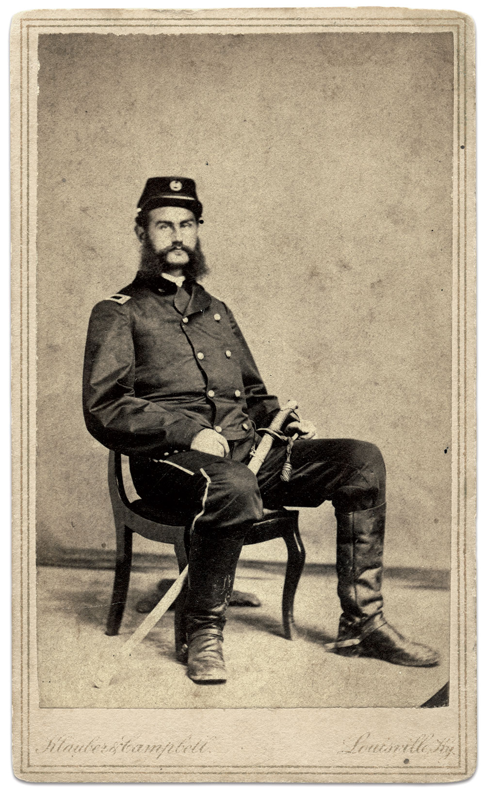 Adam Kramer, pictured as a first lieutenant in the 15th Pennsylvania Cavalry. Carte de visite by Klauber & Campbell of Louisville, Ky. Jim Quinlan Collection.