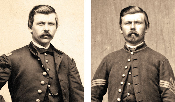 """CASE STUDY: Searching for this carte de visite, right, of Thomas Clark yielded 903 search results with the correct match, left, showing Clark after his promotion to lieutenant, ranked No. 1. Applying the """"Union"""" army and """"First Sergeant"""" rank filters maintained the No. 1 position of the correct match while removing 902 false positives. Images: Maine State Archives, left. and the Kurt Luther Collection."""