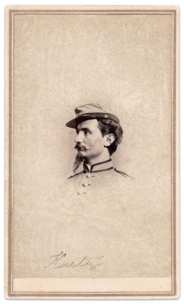 """PVT. WILLIAM KURTZ is pictured here wearing the custom-tailored cadet gray militia coat trimmed in black of the 7th New York State Militia. The author notes that this image is one of the earliest additions to his collection. """"I think I've kept it so long because Kurtz is so dashing and martial looking; he is what I expected an early volunteer Civil War soldier to look like."""" Carte de visite by George G. Rockwood of New York City. Author's Collection."""