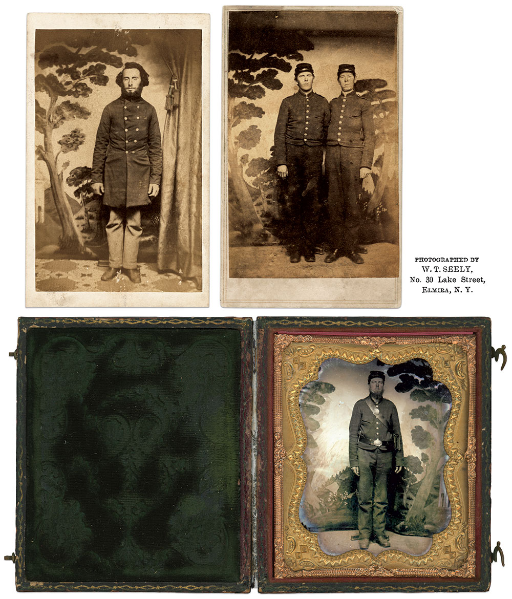 """New York soldiers are posed before """"The Tree"""" backdrop of William T. Seely in these cartes de visite and a sixth-plate ambrotype. Author's Collection."""