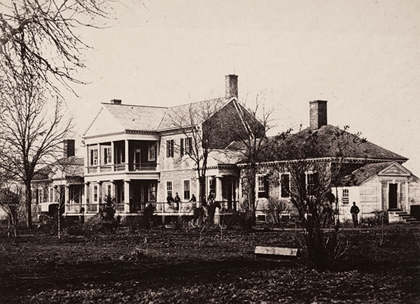 Timothy H. O'Sullivan photographed Union soldiers in front of the Lacy House. Library of Congress.