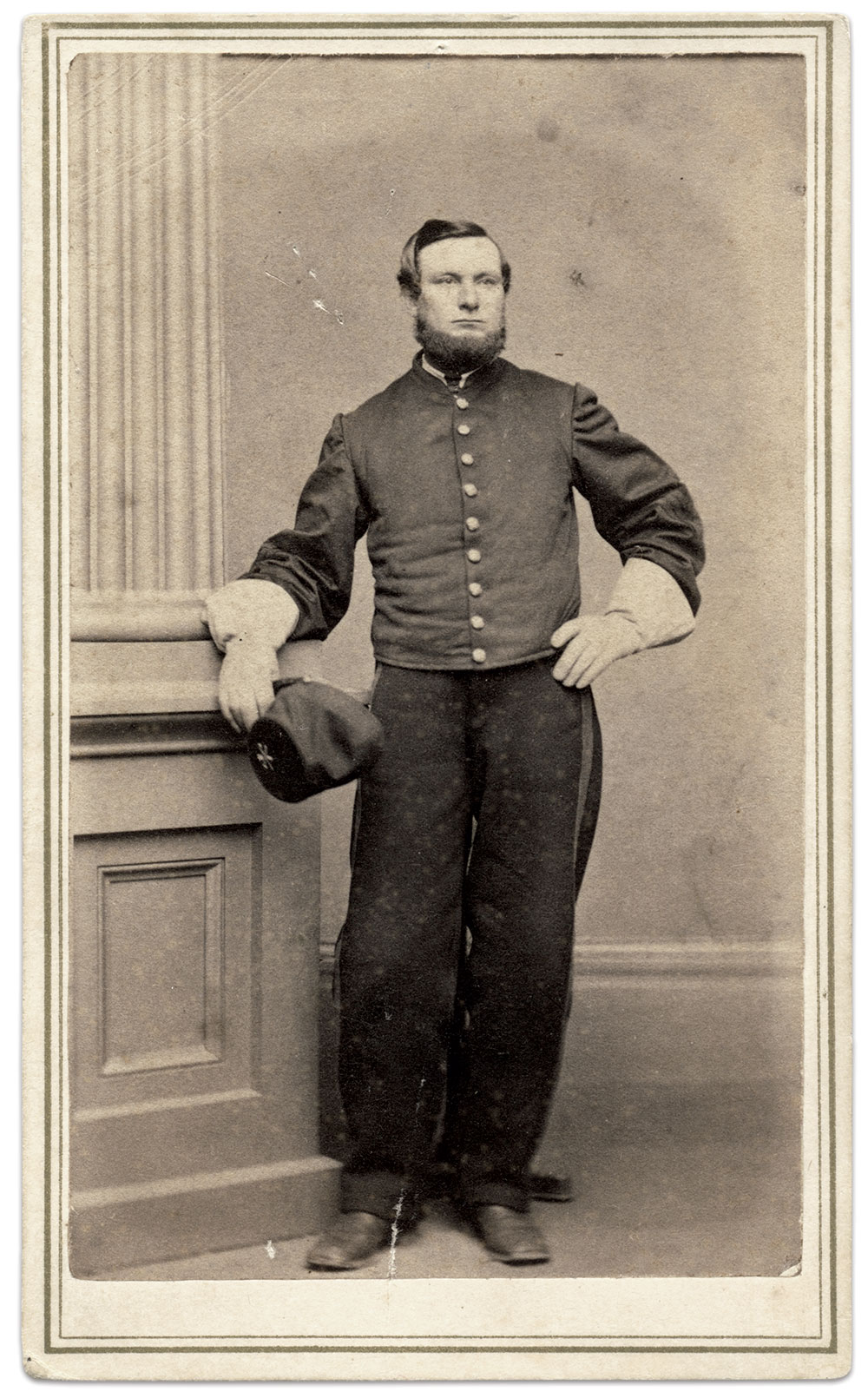 Aaron S. Lanfare of the 1st Connecticut Cavalry as he looked in March 1864, about a year before he captured the Florida flag. Carte de visite by Moulthrop of New Haven, Conn. Rick Carlile Collection.