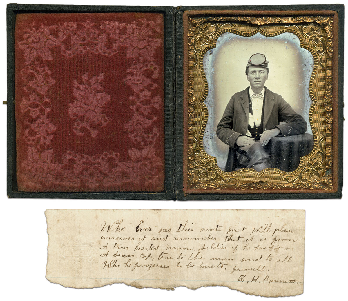 Sixth-plate ruby ambrotype by an anonymous photographer. Matt Hagans Collection.