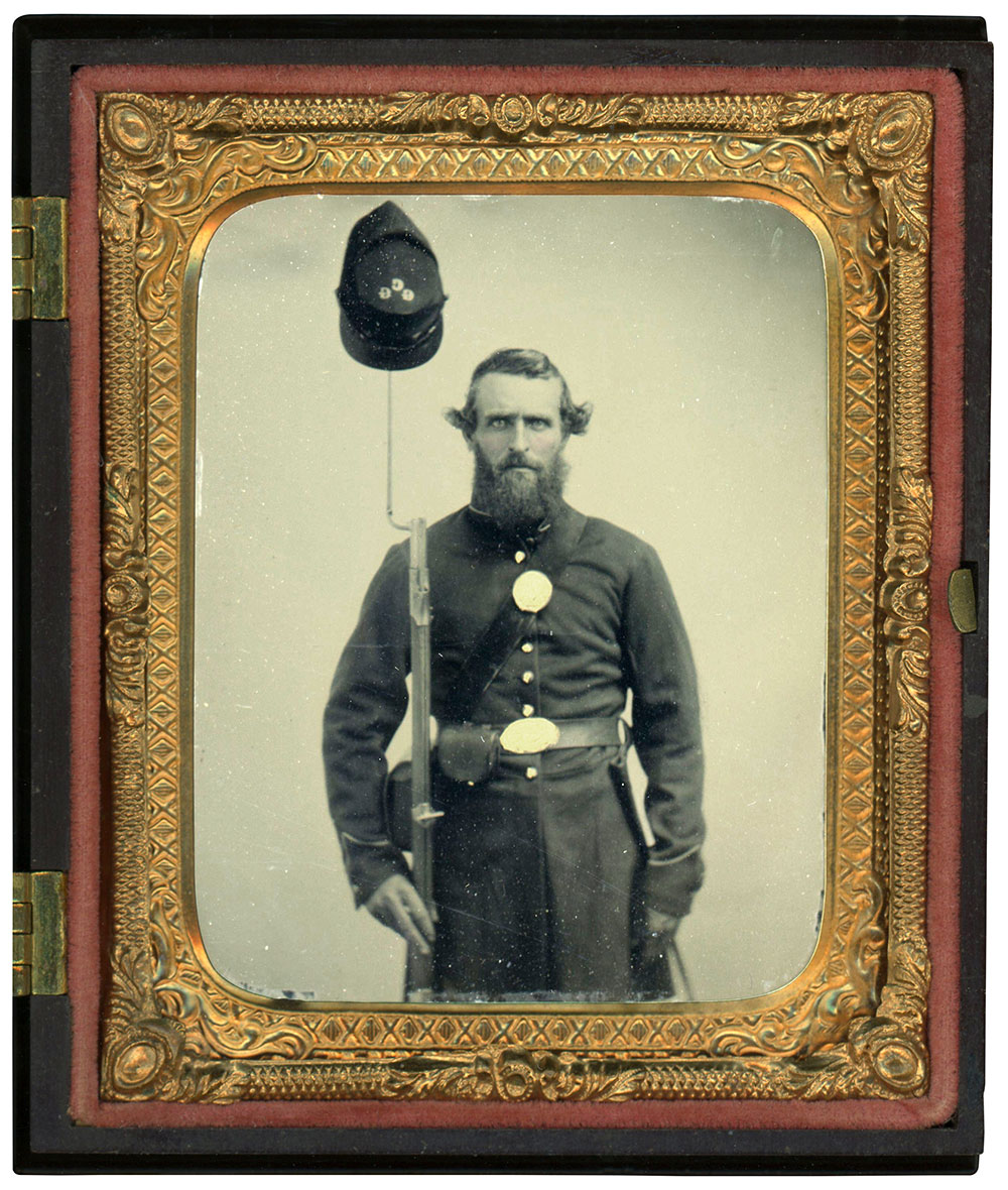 Sixth-plate ruby glass ambrotype by an anonymous photographer. Dan Binder collection.