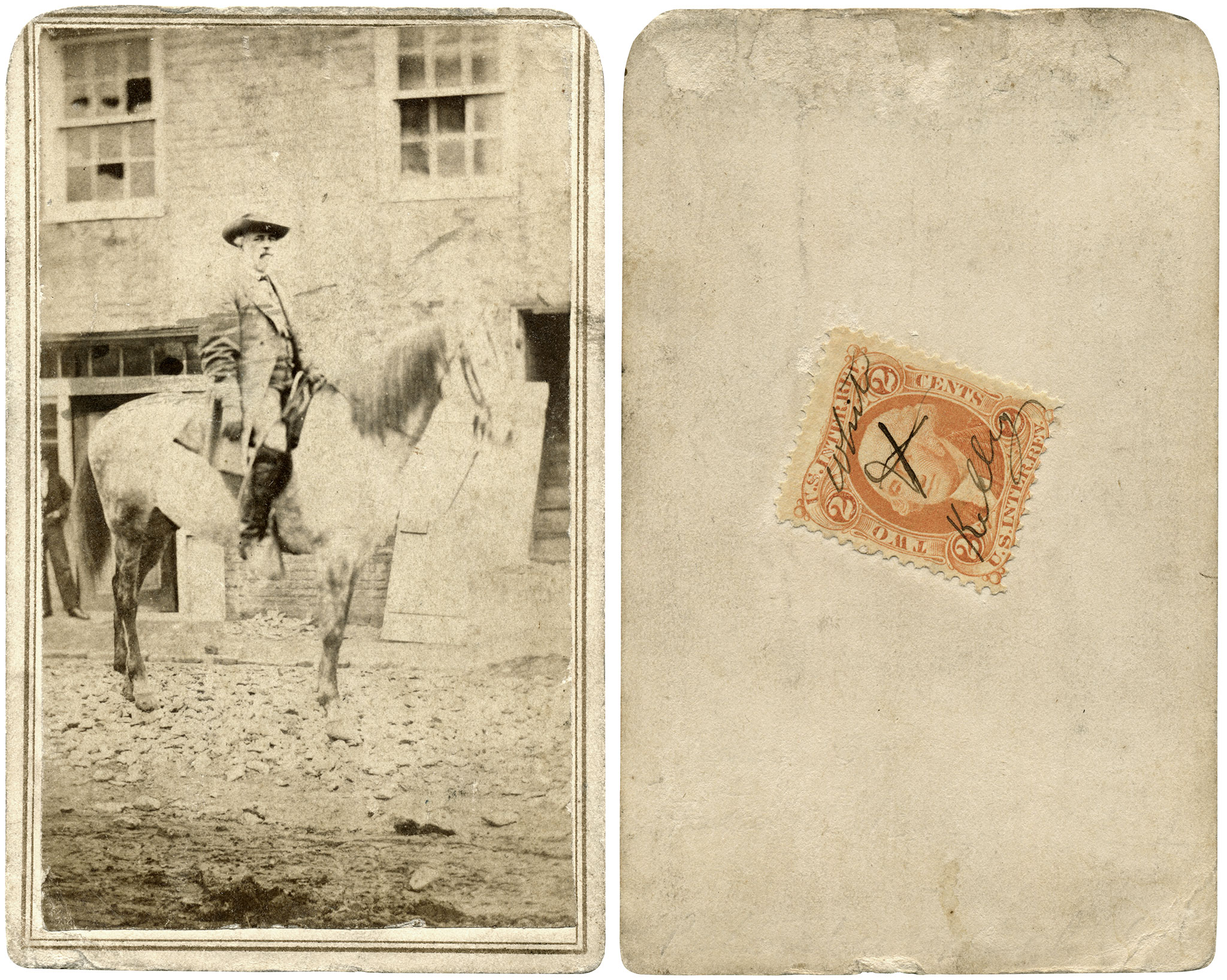 The presence of what appears to be broken windows and debris in the street may have reinforced the belief that this carte de visite was produced in war-torn Petersburg, Va., prior to its evacuation on April 2, 1865. Closer inspection indicates that reflections from a tree or building caused the windows to appear broken. Also, that the debris below Traveller's hooves are leaves. It is reasonable to conclude that the horse would have difficulty standing upon broken bits of brick, wood and stone. Author's collection.