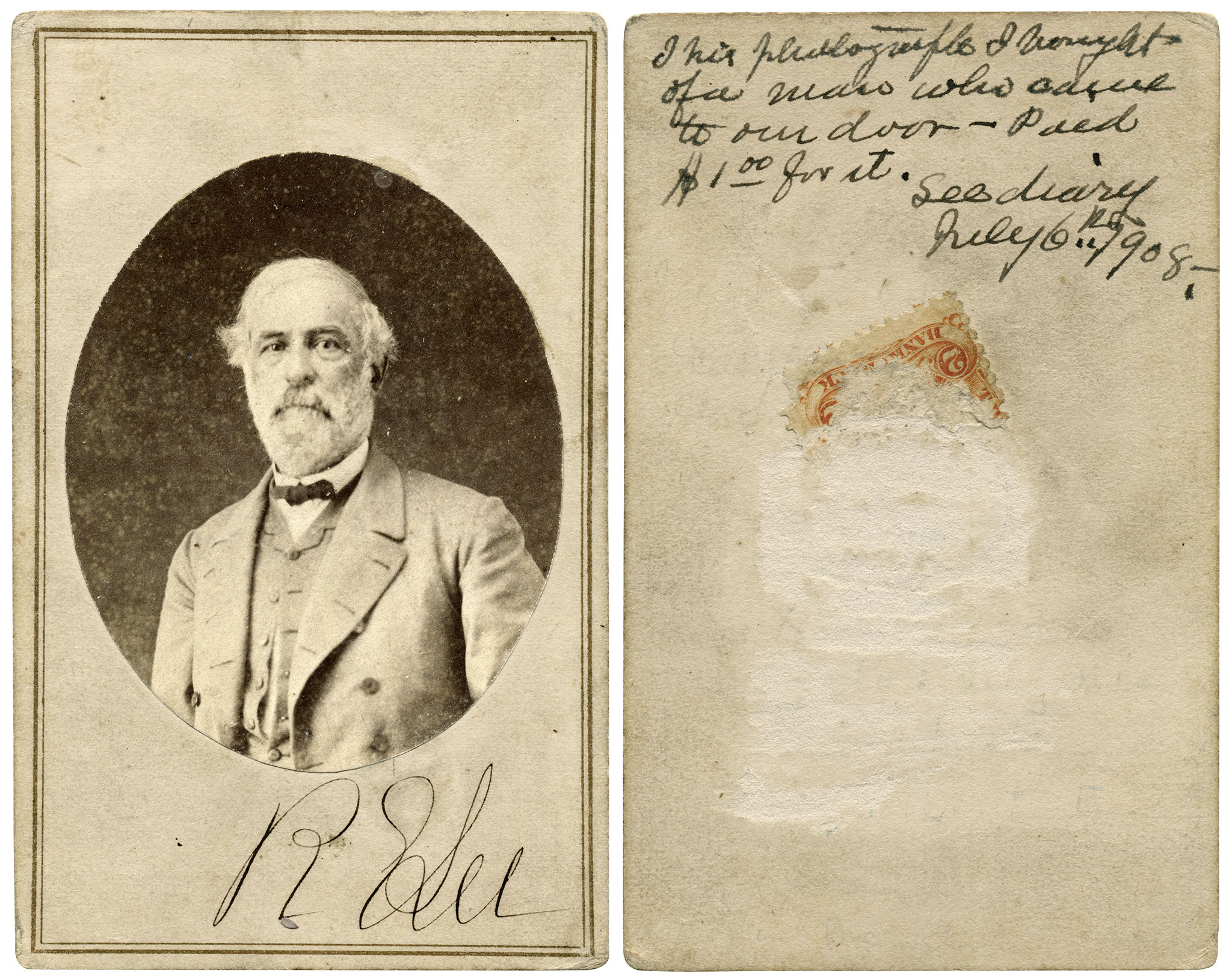 """Lee wears his old uniform coat without military buttons in this portrait. On the back is a poignant note, """"This photograph I bought of a man who came to our door—Paid $1.00 for it. See diary July 6th 1908."""" The man might have been a down-on-his-luck Confederate veteran who reluctantly parted with this precious memento of the war. Though only a fragment of the revenue stamp remains, another carte de visite of the same pose has the stamp cancelled by White & Kelly. Author's collection."""