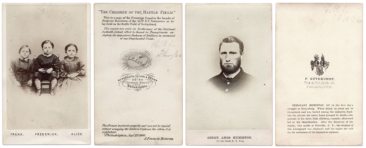 The original ambrotype of the Humiston children fell into the hands of Dr. John Francis Bourns, a Philadelphia physician who tended casualties at the Battle of Gettysburg. He made it his business to identify them. Copies of the ambrotype in the carte de visite format, left, were mass-produced. A portrait of Humiston, right, was also produced in large numbers. Cartes de visite by Wenderoth, Taylor & Brown of Philadelphia, Pa., left, and Frederick Gutekunst of Philadelphia, Pa. Author's Collection.