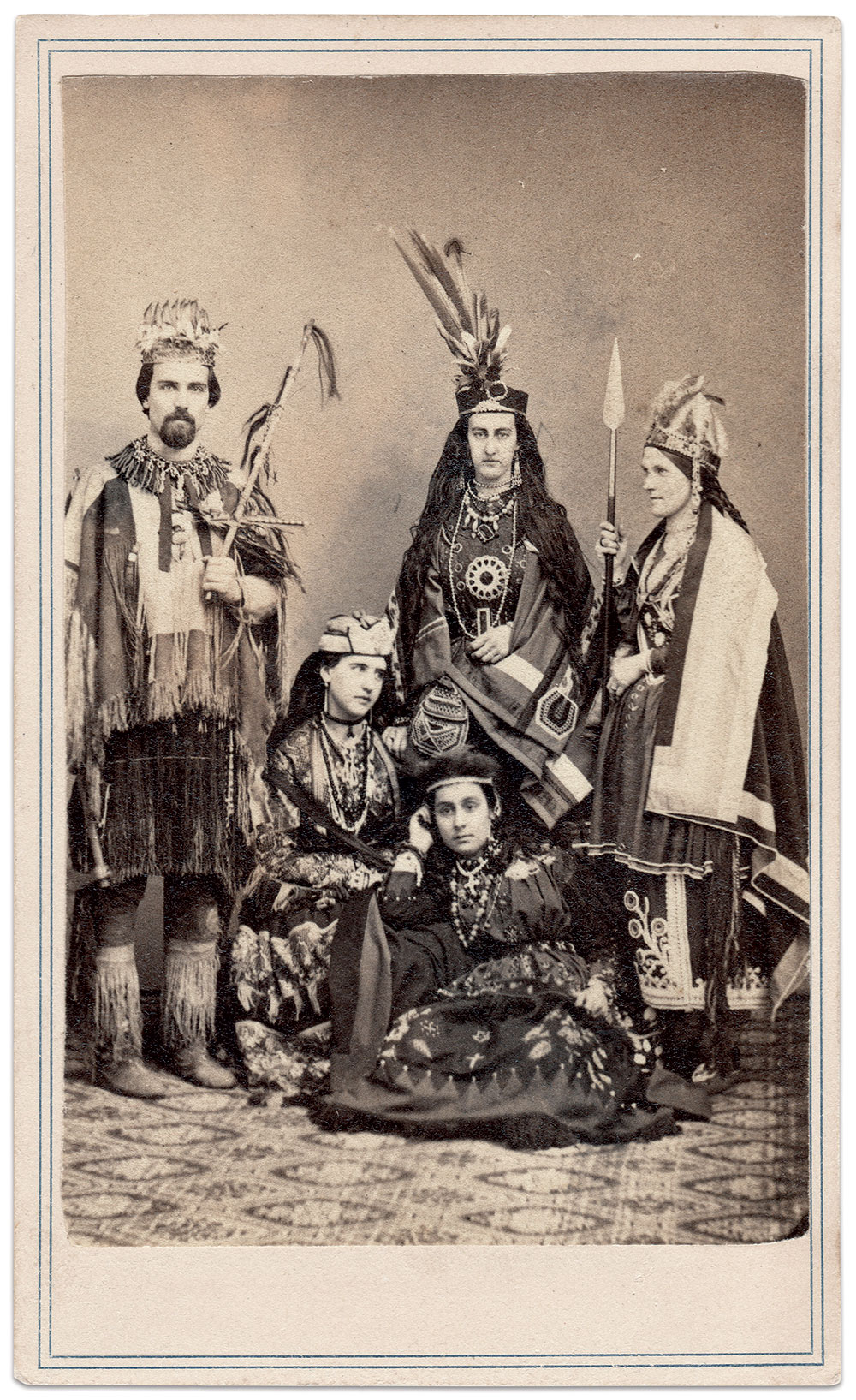 Costumes were popular, as evidenced by this group.  e beads, tomahawk, spear and other items suggest they occupied a booth dedicated to Native Americans at the Albany, N.Y., fair. Carte de visite by J.H. Abbott of Albany, N.Y. Author's Collection.