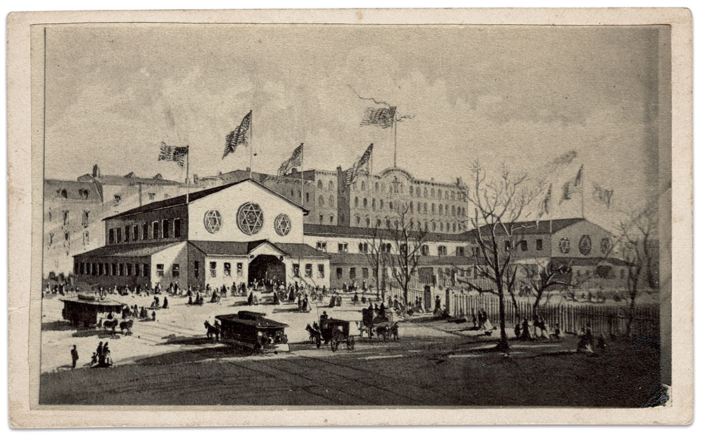 """Some attendees to New York City's Metropolitan Fair brought home this view of the """"Exterior Building"""" on Union Square to add to their carte de visite albums. Carte de visite by J.F. Aitken of New York City. Author's Collection."""