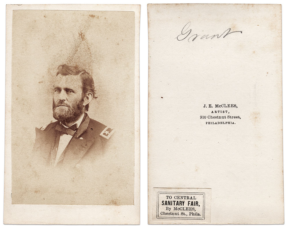 Likenesses of the Union's top general were available at the Great Central Fair in Philadelphia. Grant wears the straps of a major general, though he had earned the third star of a lieutenant general by this time. Carte de visite by J.E. McClees of Philadelphia, Pa. Author's Collection.