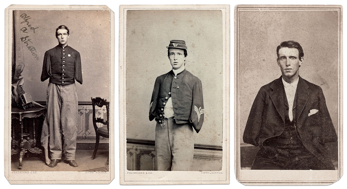Cartes de visite by New York City photographers Fredricks & Co. of New York City (left and center) and K.W. Beniczky. Author's Collection.