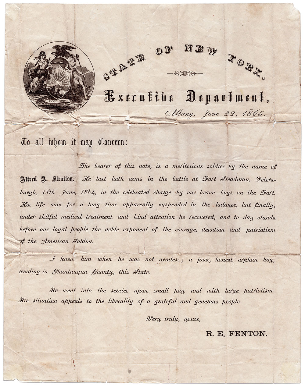 Letter of endorsement from Reuben E. Fenton, who served as the governor of New York from 1865 to 1868. Author's Collection.