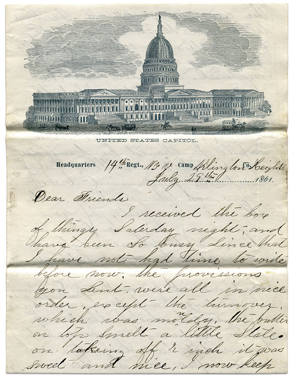 Barnard wrote this July 29, 1861, from camp in Arlington Heights, Va., across the Potomac River and Washington, D.C. Dick Tanner Collection.