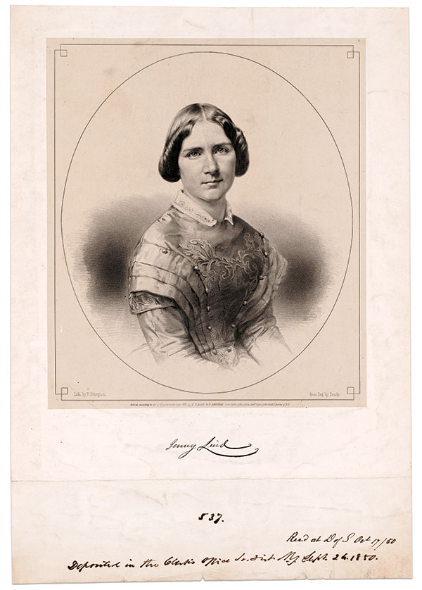 Early copyright: This lithograph of opera star Jenny Lind by Francis D'Avignon, based on a daguerreotype by Brady, was copyrighted by the two men. It was filed with the Southern District of New York court on Sept. 26, 1850.