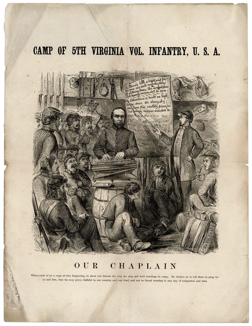 """Left: Camp of 5th Virginia Vol. Infantry, U.S.A.: Printed and distributed to members of the regiment, the engraving is dated on the back Kanawha Falls, W. Va., 1864. The 5th camped there from November 1863 to April 1864. The lyrics on the poster, """"The Heavenly Home,"""" were written by William Hunter, D.D. (1811-1877)."""