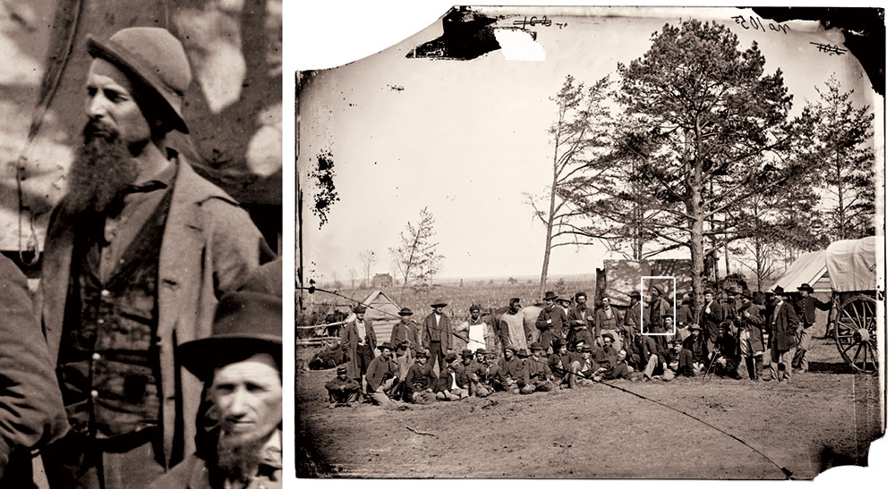 THE SEAMLESS OVERCOAT worn by an unnamed Army of the Potomac scout or guide in this circa March 1864 photo at Brandy Station, Va., suggests that some of the garments discarded earlier in the war became military surplus. Library of Congress.