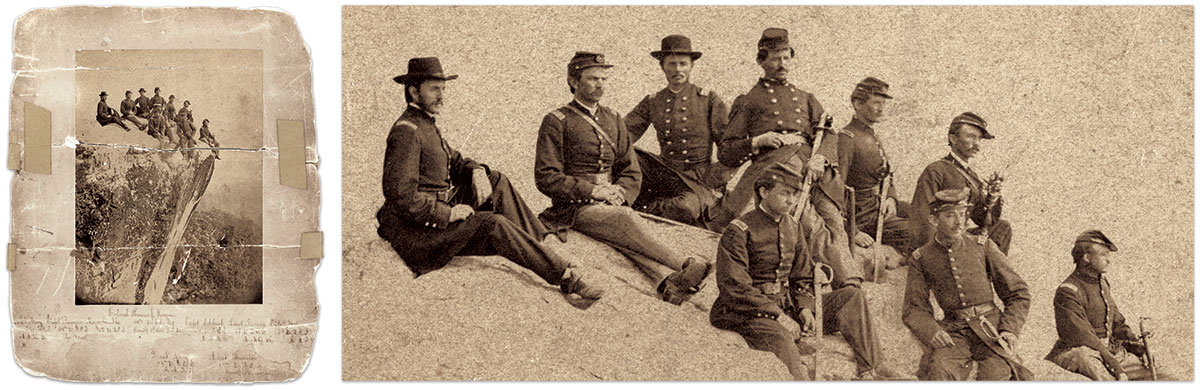 Col. Morgan and staff at Lookout Mountain, 1865: Morgan's staff served in four U.S. Colored Infantry regiments. Back row, from left to right: Aide de camp and Capt. William H.H. Avery, 42nd; Provost Marshal and Capt. Henry Romeyn, 14th (Medal of Honor, 1877, Bear Paw Mountain, Mont.); Maj. George W. Grubbs, 42nd; Col. Morgan, Assist. Adjutant General and Capt. John E. Cleland, 44th; Acting Assistant Quarter Master and 1st Lt. Joseph A. Turner, 18th; Aide de camp and Capt. James H. Meteer, 14th. Front row: Aide de camp and 1st Lt. John W King, 44th; Commander of Provost Guard and 1st Lt. Gardner Parker Thornton, 14th. Albumen print attributed to Robert M. and James B. Linn of Chattanooga, Tenn. Vincent Caviglia Collection.